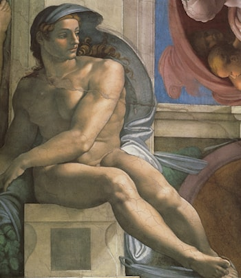 Ceiling of the Sistine Chapel: Ignudi, next to Separation of Land and the Persian Sybil [left] by Michelangelo
